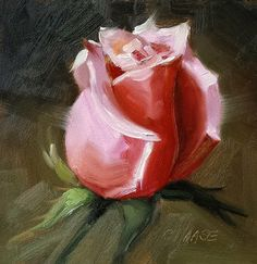 Small Original Oil Painting Pink Rose 4 x 4 by CynthiaHaaseFineArt, $40.00