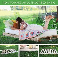 I like this!! But improve on it by creating a headboard out of another pellet :) That way cushions don't fall off!