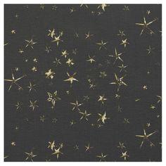 Yellow and Brown Stars on Black Fabric http://www.zazzle.com/whitewavesfabrics
