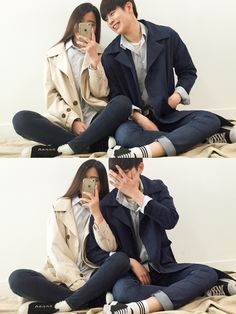 Official Korean Fashion : Korean Couple Fashion Korean Street Fashion, Korea Fashion, Asian Fashion, Couple Outfits, Casual Outfits, Fashion Outfits, Fashion Trends, Couple Look, Couple Style