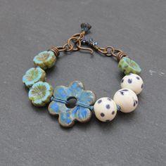Artisan beaded flower bracelet OOAK beaded bracelet by BeadyDaze, £25.00