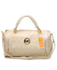 59602fe5b7f2 Michael Kors Monogrammer Zipper Remove Strap Metallic Big Circle Logo  Snowcap Leather Upper