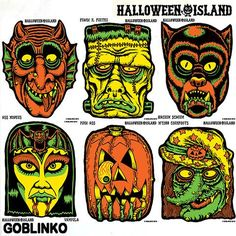 These six terrifying & tantalizing masks from Goblinko can double as devilish decorations for your weirdo pad, safehouse, outhouse, haunted. Retro Halloween, Vintage Halloween Decorations, Halloween Horror, Halloween Masks, Halloween Crafts, Happy Halloween, Halloween Designs, Halloween Cartoons, Halloween Illustration