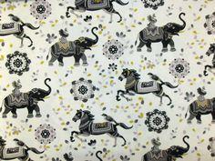 Marson Rajah Double Width Extra Wide Indian Print Horses Elephant Curtain Fabric   eBay