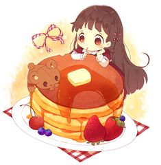 Cute chibi anime girl with long brown hair and a big beatiful pancake! Anime Chibi, Kawaii Anime, Art Kawaii, Kawaii Chibi, Cute Chibi, Anime Art, Chibi Food, Chibi Girl, I Love Anime