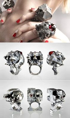 Amped-up skull rings by French designer Alina Alamorean