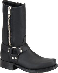 """Men's Double H Boot 11"""" Harness Boot with Side Zipper - Black"""