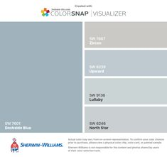 I found these colors with ColorSnap® Visualizer for iPhone by Sherwin-Williams: Dockside Blue (SW Zircon (SW Upward (SW Lullaby (SW North Star (SW Bluish Gray Paint, Blue Gray Paint Colors, Room Colors, Wall Colors, House Colors, Interior Paint Colors, Paint Colors For Home, North Star Sherwin Williams, Sweet Home