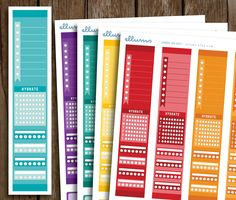 Printable Full Side Bar Planner Stickers | Instant Download | Rainbow Side Bar Stickers | To Do List | Hydrate | Trackers | Erin Condren by ellums on Etsy