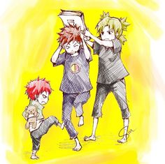 Temari and Gaara beating up Kankuro. This is too cute!! - Naruto