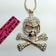 Betsey Johnson Skull bling necklace USA Seller + Free gift with every order #BetseyJohnson