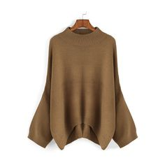 SheIn(sheinside) Khaki Round Neck Loose Dip Hem Sweater ($20) ❤ liked on Polyvore featuring tops, sweaters, khaki, brown pullover sweater, loose fitting tops, loose pullover sweater, long sleeve pullover sweater and loose sweater