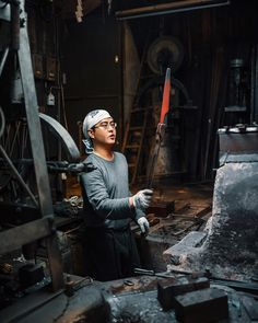 "3 Likes, 2 Comments - Russell Pearson (@pearsonphotography) on Instagram: ""Master craftsman Jun Mizuno inspects the temperature of the steel while creating another…"""