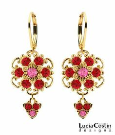 Fabulous Dangle Earrings Designed by Lucia Costin with Pink and Red Swarovski Crystal Flowers, Accented with Twisted Lines and 3 Stones Dangle; 24K Yellow Gold Plated over .925 Sterling Silver Lucia Costin. $66.00. Beautifully designed with rose and light siam Swarovski crystals. Splendid combination of dangle elements. Unique jewelry handmade in USA. Lucia Costin flower shaped drop earrings. Mesmerizing enough to wear on special occasions, but durable enough to be worn daily