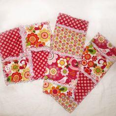 Rag Quilt Lovey & Burp Cloth  Set - great baby gift idea!