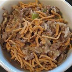 This is an especially easy-to-prepare version of ground beef and rice casserole. Almonds, chow mein noodles, and celery add crunch.