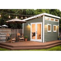 Pin for Later: He Shed, She Shed — All the Things You Can Do With Backyard Sheds Office Sheds Converting a shed into a separate office space solves a problem for anyone who works from home but has trouble separating the personal and professional. Backyard Office, Backyard Studio, Backyard Sheds, Outdoor Sheds, Garden Sheds, Outdoor Office, Backyard Bar, Garden Office Shed, Desert Backyard