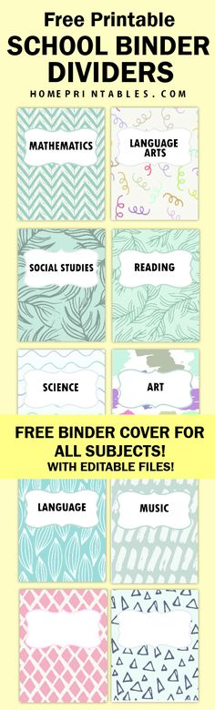 Download this FREE school binder and planner dividers for ALL subjects! Editable templates included! #student #school #printables #planner #schoolorganizers #homeprintables