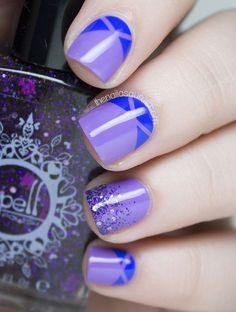Uñas moradas con azul ~ Violet Nails with Blue