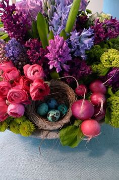 "Vibrant flowers .... with a ""shock"" of robin's eggs & beets!  Now I truly LOVE this type of composition!"