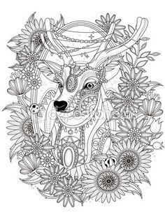 Página para colorear de venado hermoso — Stock Illustration #103773368