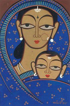 Jamini Roy - Untitled (Mother and Child) Art Painting, Indian Art Paintings, Worli Painting, Bengali Art, Tribal Art, Mural Art, Amazing Art Painting, Folk Art Painting, Indian Art Gallery