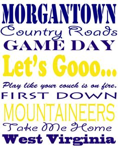 West Virginia Subway Print 8 x 10 by framedletterart. Gotta get this for our fan cave :)