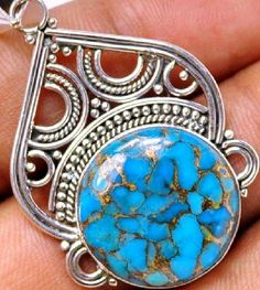 Rare Blue Copper Turquoise Pendant in 925 Sterling silver