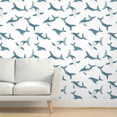 Commercial Grade Wallpaper Swatch - Whales Blue Boys Nursery Watercolor Whale Traditional Wallpaper by Spoonflower