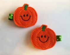 Pumpkin Felt Clippies