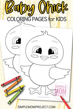Spring time is a great time to enjoy all the new life and color that surrounds us - so here's a very cute & fun baby chick coloring page for your kids. This free printable coloring page is a wonderful way to learn the letter C or simply create a farm themed preschool art project. So join in the spirit of spring crafts with this free printable Baby chick coloring page today! Spring Crafts For Kids, Crafts For Kids To Make, Preschool Art Projects, Projects For Kids, Toddler Preschool, Toddler Activities, Free Printable Coloring Sheets, Farm Animal Crafts, Thing 1