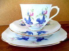 ROYAL ALBERT ~ Bluebirds China Tea Sets, Blue China, Royal Albert, Vintage China, China Porcelain, Teacups, Blue Bird, Cup And Saucer, Art Deco