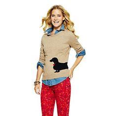 Love this Dachshund Intarsia Sweater for $88 on C. Wonder