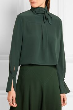 Forest-green silk crepe de chine Button-fastening keyhole at back  100% silk Dry clean Imported