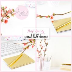 Instagram Set of 4, Instagram Bundle, Spring images, Pink flowers and keyboard, Golden notepad, Styled Stock Photography, Low Res #B005