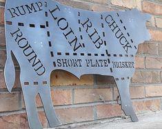 Meat Art, Art Restaurant, Meat Shop, Cow Decor, Farm Store, Custom Metal Signs, Butcher Shop, Kitchen Signs, Bbq