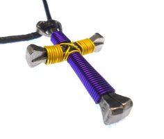 Purple & Yellow Horseshoe Nail Cross Necklace