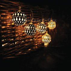 12 Sphere String Garden Solar Lights with sensor shabby chic style garden lights Solar Fairy Lights, Led Garden Lights, Globe String Lights, Solar String Lights, Boutique Camping, Camping Glamping, Camping Stuff, Fairy Lamp, Disco Lights