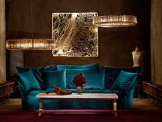 Art deco glamour: the perfect vintage sofas, art deco armchairs & crystal chandeliers for your home Decor, Furniture, Interior, Home, Vintage Sofa, Crystal Chandelier, Art Deco, Armchair, Interior Deco