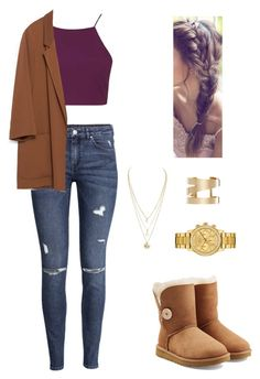 """""""Untitled #205"""" by xpaolacristinax ❤ liked on Polyvore featuring Topshop, H&M, Zara, UGG Australia, Isabel Marant and Lacoste"""