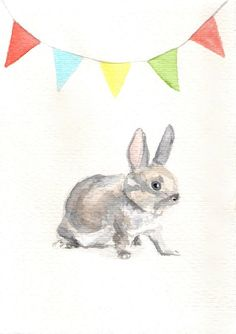 FREE SHIPPING Original watercolor painting  Rabbit with flag garland by Mydrops, $20.00