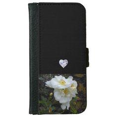 IPHONE6 WALLET/HOLDER -DIAMOND HEART & GARDENIAS iPhone 6/6S WALLET CASE