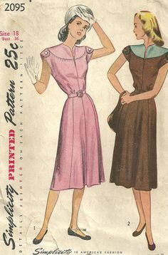 Vintage 40s Sewing Pattern Simplicity 2095 by studioGpatterns
