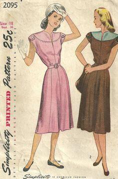 1947; Simplicity 2095; Size 18: Bust 36 -- Waist 30 -- Hip 39.