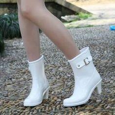 快適おしゃれ レインブーツ ショート レディース 長靴 23-23.5cm Mサイズ 白/ホワイト