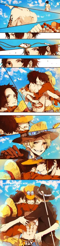 Fanart, ONE PIECE, Monkey D. Luffy, Comic, Portgas D. Ace, Sabo (they all have pretty nasty battle scars. . . :'(
