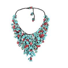 AeraVida Handmade Natural Coral TQ Waterfall Bib Necklace ($50) ❤ liked on Polyvore featuring jewelry, necklaces, multiple colors, layered necklace, red bib necklace, pandora jewelry, multi layered necklace and red necklace