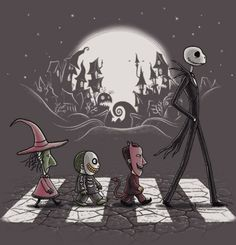 Halloween Road by @Antonio Covelo Covelo Centeno Guerrero. Cool mashup Tshirt featuring characters from Nightmare Before Christmas walking on Abbey Road. Features Jack Skellington + Lock (devil), Shock (witch)  Barrel (skeleton face).   Available @TeeFury TeeFury.com at $11 for a limited time.   #nightmarebeforechristmas #thenightmarebeforechristmas #timburton