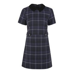 George Woven Check Peter Pan Collar Dress ($11) ❤ liked on Polyvore featuring dresses, navy, peter pan dress, navy collar dress, short-sleeve dresses, zip up dress and navy short sleeve dress