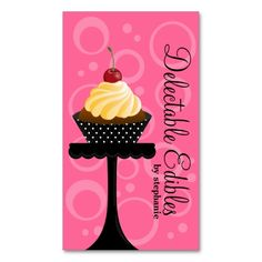 Cupcake Bakery Business Cards. This great business card design is available for customization. All text style, colors, sizes can be modified to fit your needs. Just click the image to learn more!
